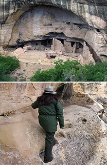 Two images that include a ranger traversing hand-carved stone steps and a view of an ancient masonry cliff dwelling in an alcove.