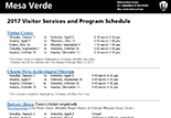 A portion of the front page of the Visitor Services handout