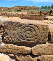 Spiral petroglyph at Pipe Shrine House in Far View Sites
