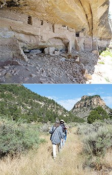 Two photos: One of ancient, stone-masonry rooms in an alcove, and the other of hikers on a trail.