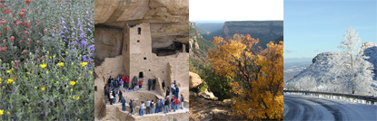 Collage of four seasons at Mesa Verde