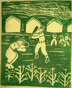 A print of men playing baseball at Minidoka.