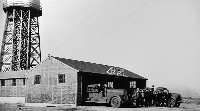 Fire Station #1 with water tower in background