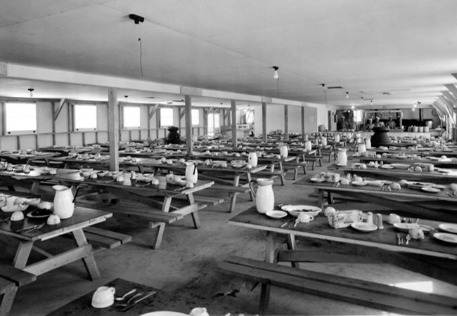 One of the Mess Halls set for the next meal.