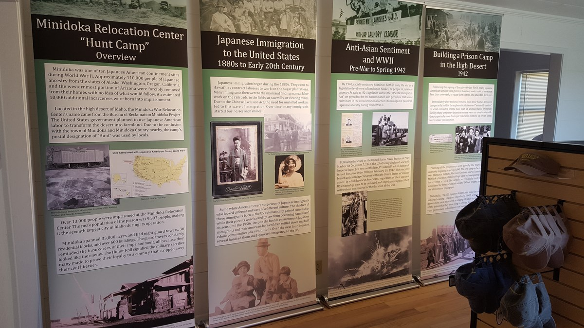 printed displays discuss Minidoka history