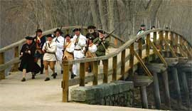 Colonial militia advance over the North Bridge