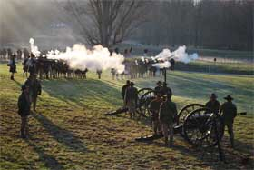 Minute Men and Concord Independent Battery fire a 21 gun salute