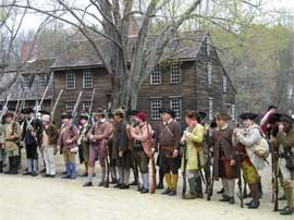 Militia paraded in front of Hartwell Tavern