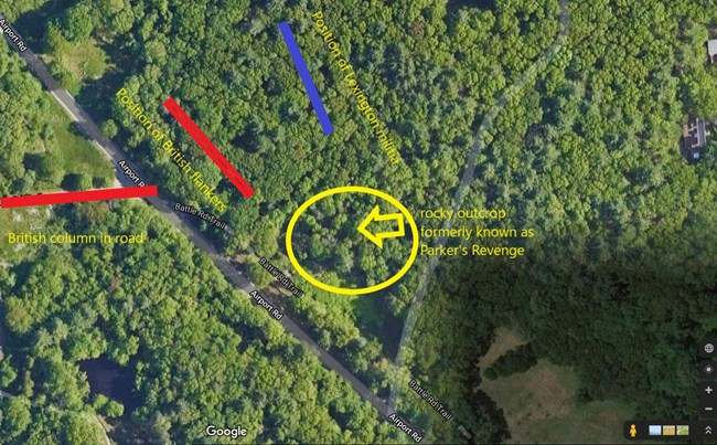 Aerial photo showing a wooded landscape with a historic road cutting through it. Rectangles and text show positions of troops.