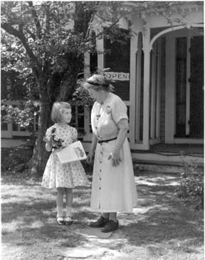 Margaret Lothrop and visitor 1950s