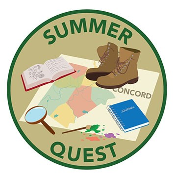 Summer quest graphic showing map of Concord underneath hiking boots, a book, a journal, a magnifying glass, and a paint brush.