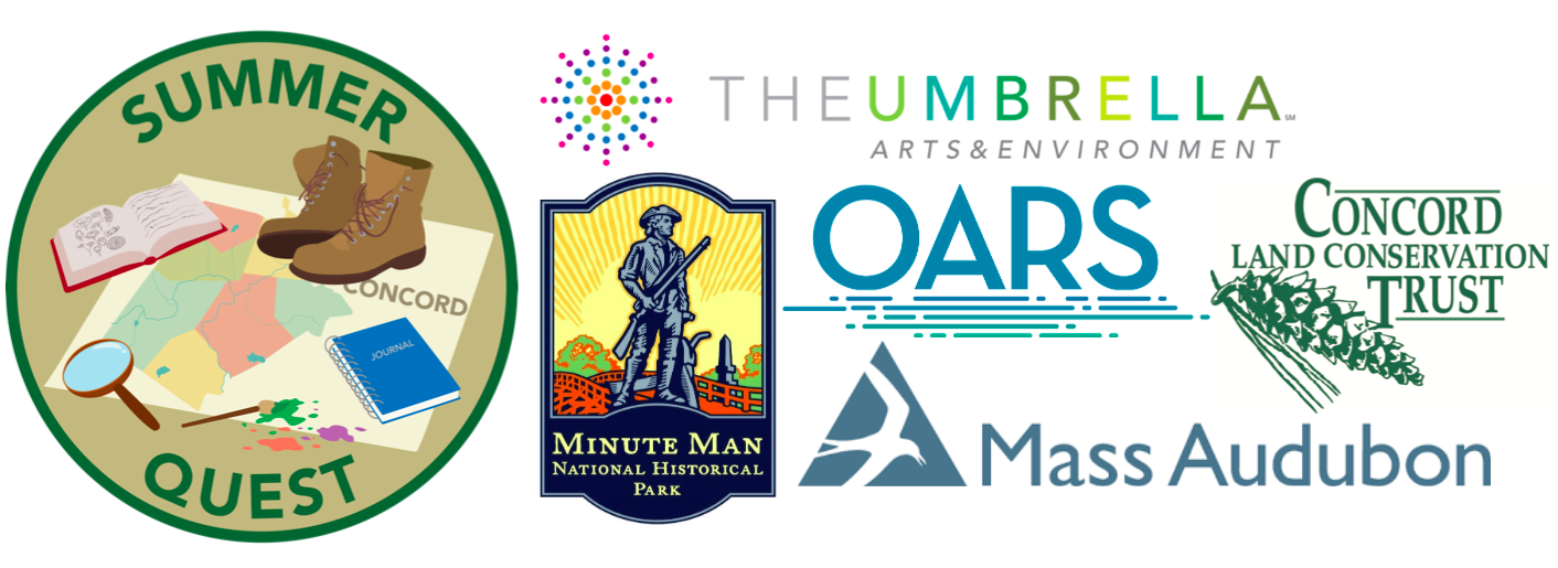 A collection of graphic logos from Minute Man NHP, The Umbrella Organization, OARS, Concord Land Conservation Trust, Mass Audubon