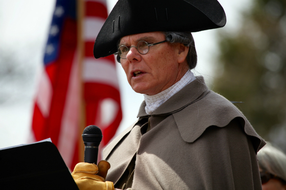 Speaking of sacrifice, volunteer Ed Hurley, dressed in 18th century clothes speaks of the sacrifice of veterans.