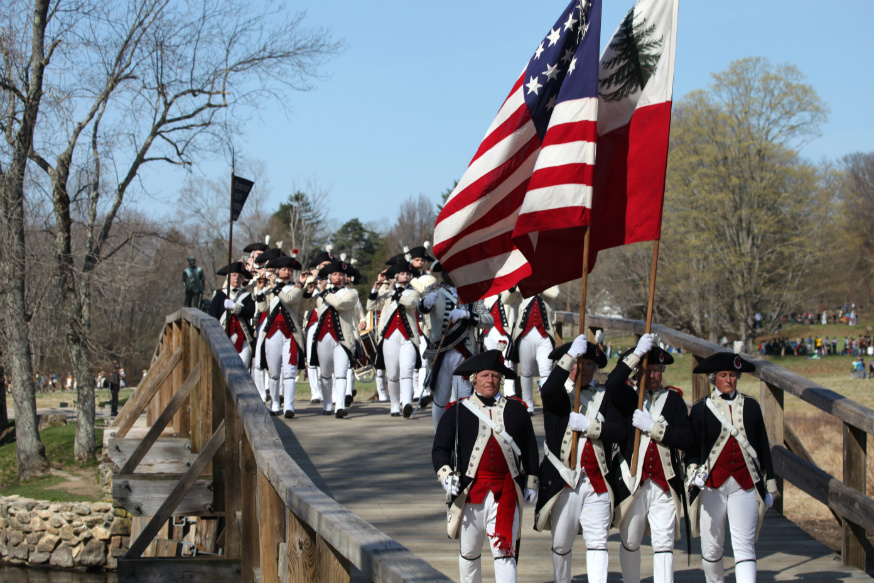 Middlesex Fife and Drums on North Bridge, Concord MA