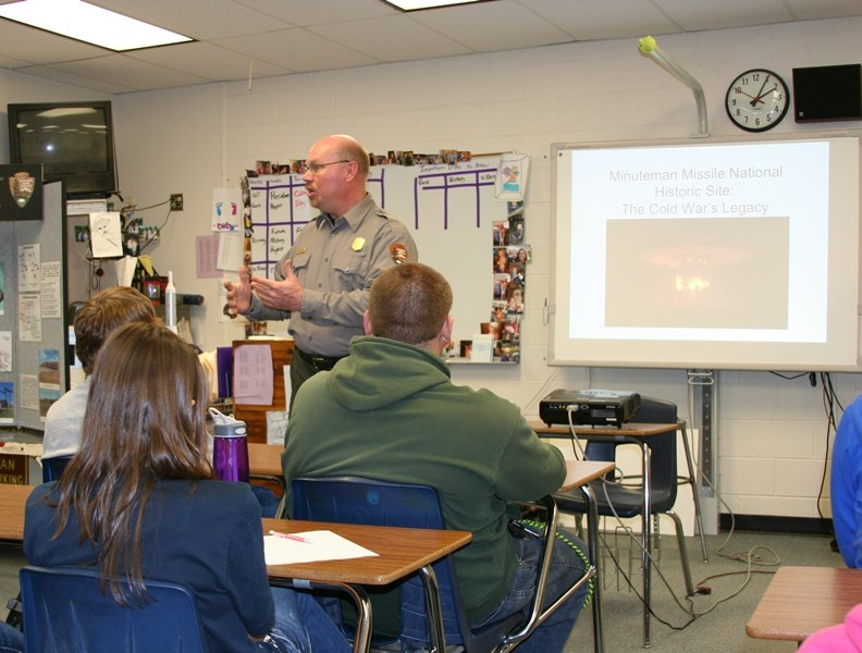 Minuteman Missile Ranger speaking to a class in Western South Dakota