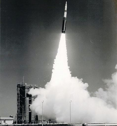A Minuteman II missile test launches