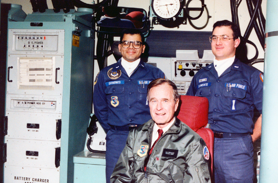 Missileers of the 44th Missile Wing with President George H.W. Bush