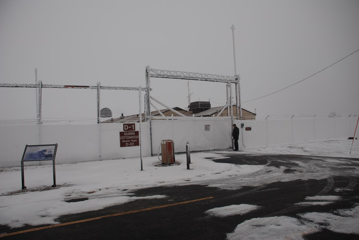 Freezing fog coats the fence with frost at Launch Control Facility Delta-01