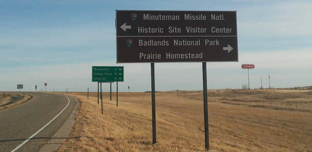 Road sign to Minuteman Missile and other nearby attraction