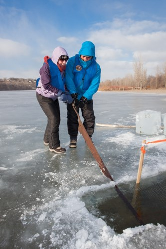Two people sawing ice on a frozen lake.