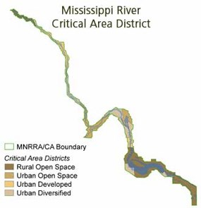 A map showing the Mississippi's critical Area District.