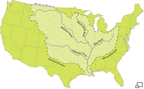 a map of the united states showing the extent of the are drained by the mississippi