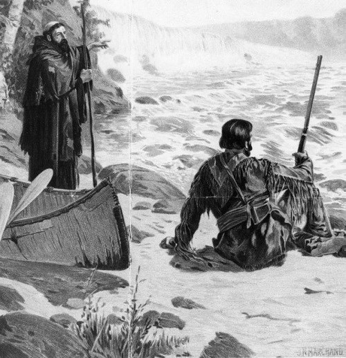 Two men observe a large waterfall. One is a priest and the other is dressed in buckskins and carrying a rifle.