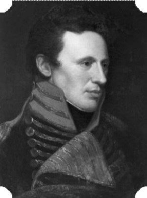 A black and white portrait of Zebulon Pike in military uniform.