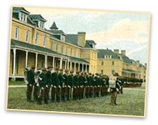 Troops from Fort Snelling organize to be sent to Cuba during the Spanish American War.