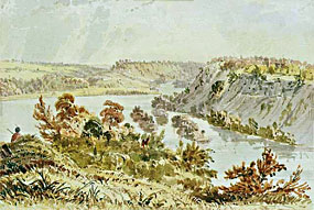 An Eastman painting of the confluence of the Mississippi and Minnesota Rivers.