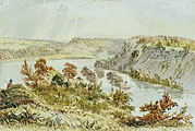Eastman painting of the confluence of the Mississippi and Minnesota Rivers.