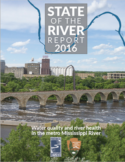 A report cover showing a bridge, city skyline and river.