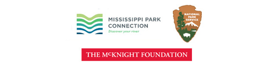 Logos of the Mississippi Park Connection, NPS, and the McKnight Foundation