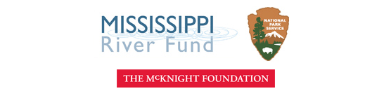 This graphic contains logos of the Mississippi River Fund, The McKnight Foundation, and the National Park Service.