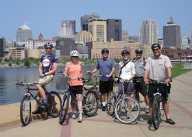 The planning team on bicycles along the river in downtown St. Paul.