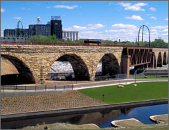 View of Stone Arch Bridge in the Minneapolis Riverfront District.