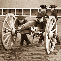 Modern day re-enactors line up their cannon at Historic Fort Snelling.