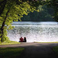 A couple sits on the Mississippi River shoreline flanked by a frame of trees.