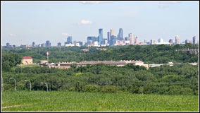 Looking north towards the Minneapolis skyline and historic Fort Snelling.