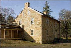 The stone Sibley House was the home of the first Minnesota governor and a thriving fur trade location.
