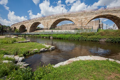 The Historic Stone Arch Bridge spans the Mississippi River.
