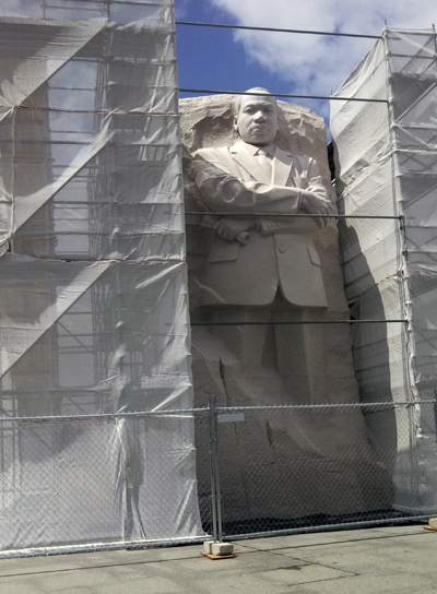 Scaffolding next to the sculpture of Martin Luther King, Jr.