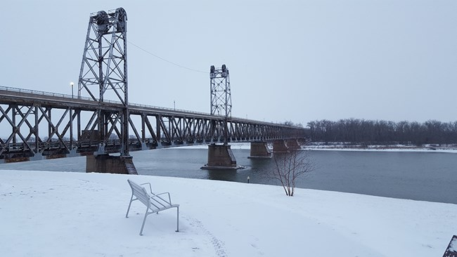 The Meridian Bridge spanning across the Missouri to Yankton.