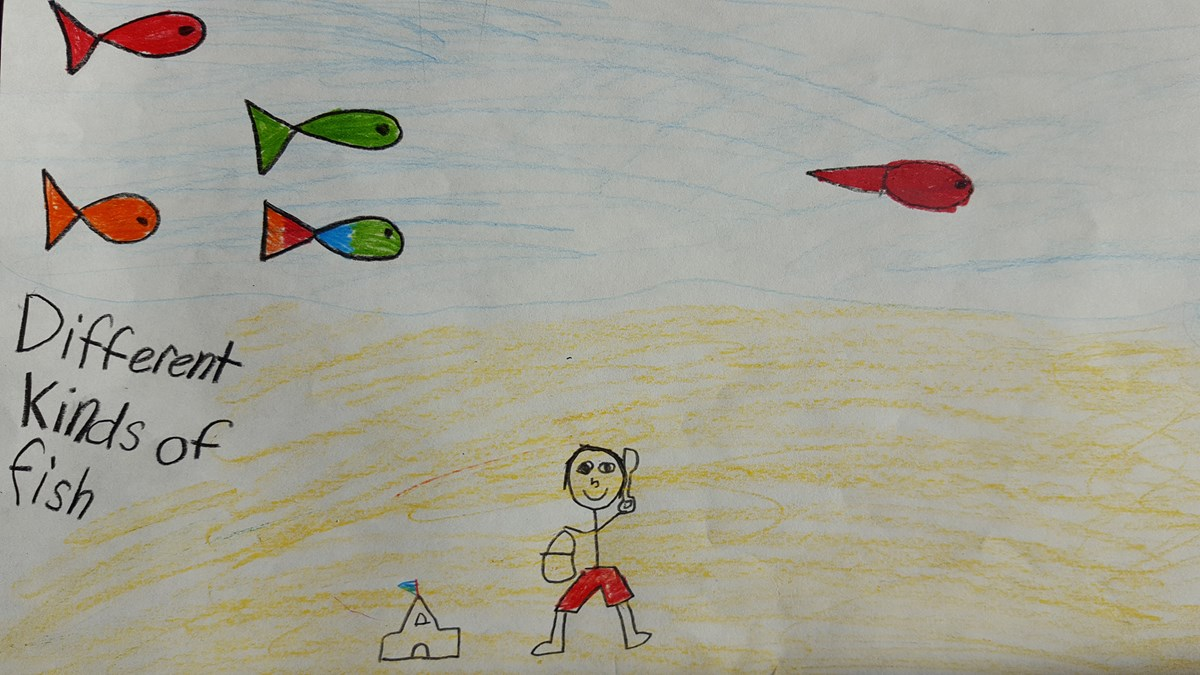 A child's color drawing of fish swimming in the Missouri River.