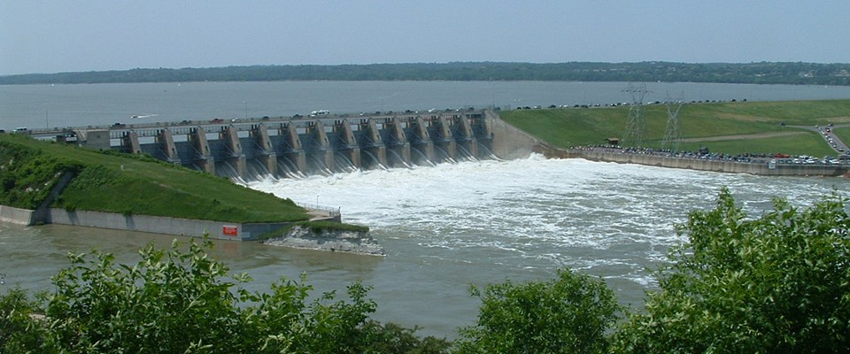 All gates on the Gavins Point Dam are open allowing water to pass through into the Missouri River during the 2011 Flood.