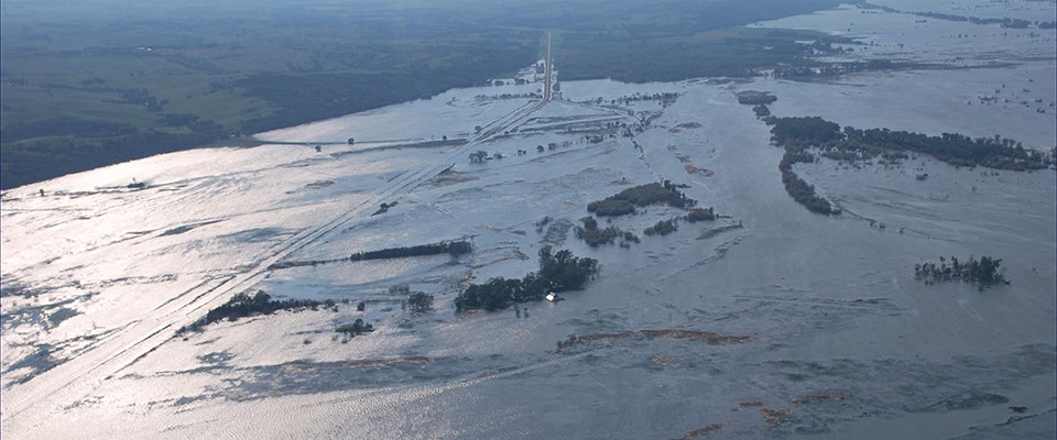 View of a flooded Nebraska Highway 12 looking East during the 2011 Flood.