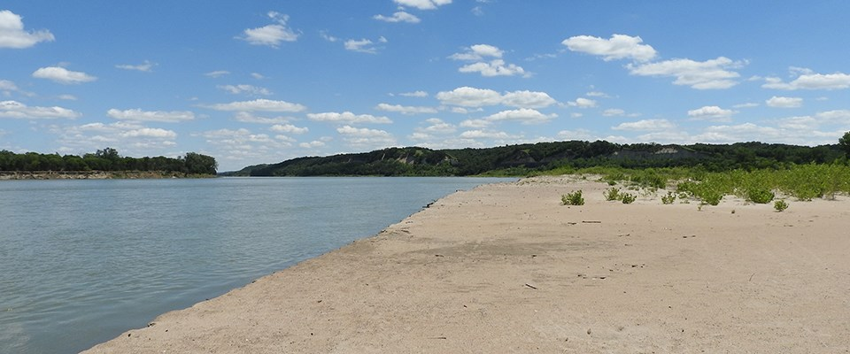 View downriver from a wide sandy beach at Bow Creek Recreation Area.