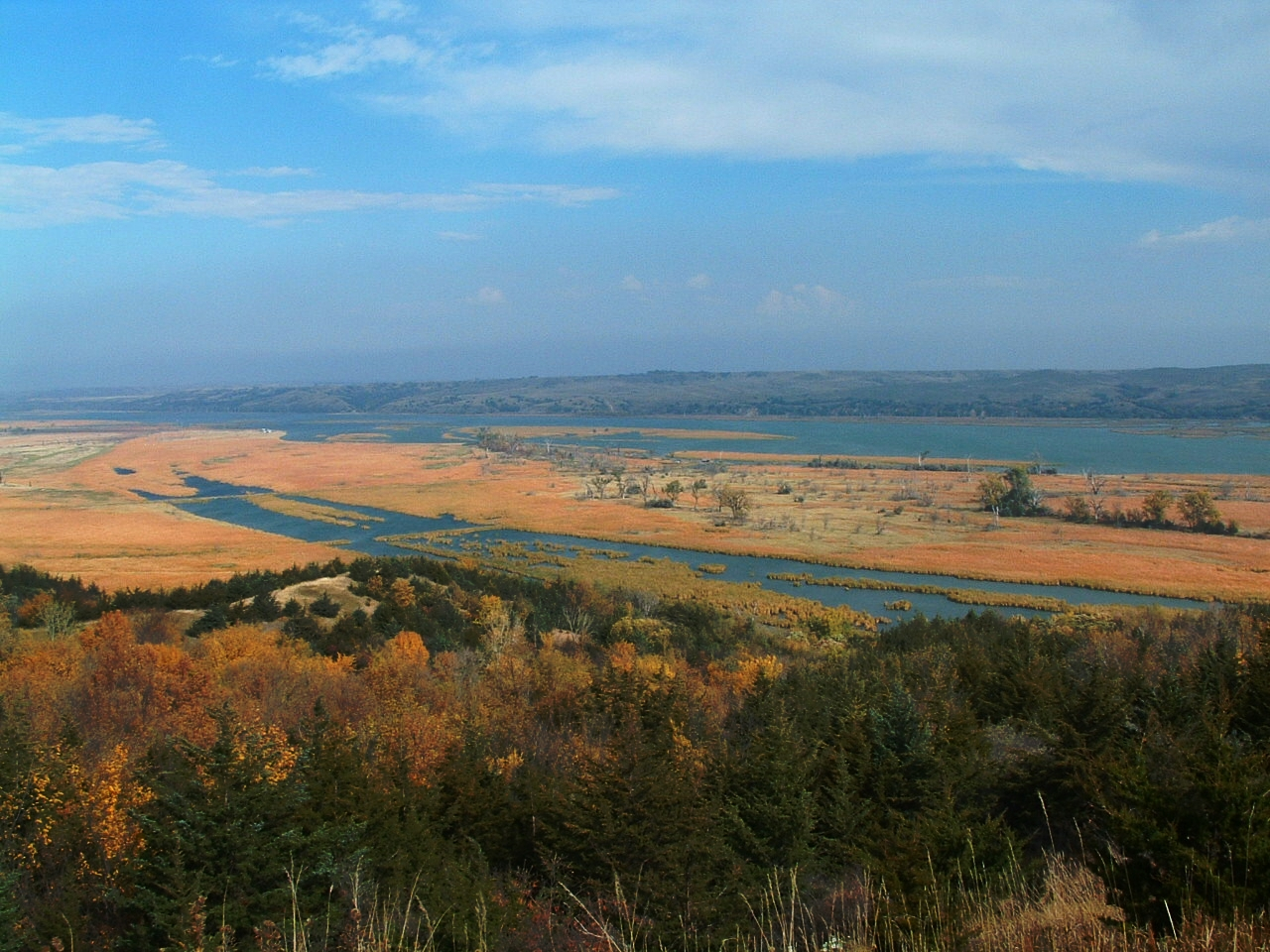 View of the 39 mile reach of Missouri National Recreational River from Niobrara State Park