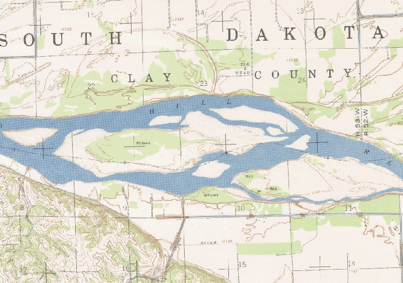Historic map of the Missouri River from 1947