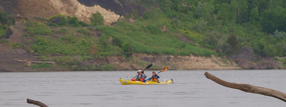 Kayakers enjoying the Missouri River.